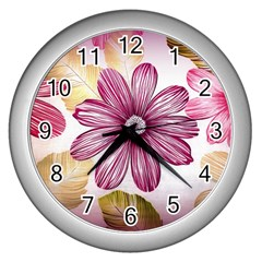 Flower Print Fabric Pattern Texture Wall Clocks (silver)  by BangZart