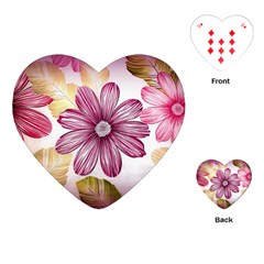 Flower Print Fabric Pattern Texture Playing Cards (heart)  by BangZart