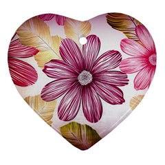Flower Print Fabric Pattern Texture Heart Ornament (two Sides) by BangZart