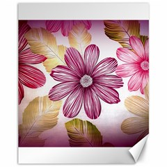 Flower Print Fabric Pattern Texture Canvas 11  X 14