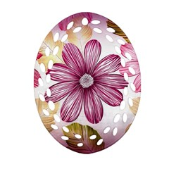 Flower Print Fabric Pattern Texture Oval Filigree Ornament (two Sides)