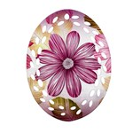 Flower Print Fabric Pattern Texture Oval Filigree Ornament (Two Sides) Back