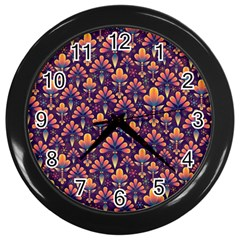 Abstract Background Floral Pattern Wall Clocks (black) by BangZart