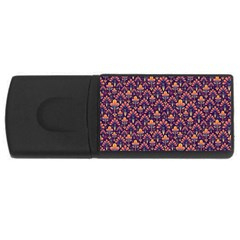 Abstract Background Floral Pattern Usb Flash Drive Rectangular (4 Gb) by BangZart