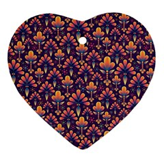 Abstract Background Floral Pattern Heart Ornament (two Sides) by BangZart