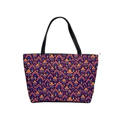 Abstract Background Floral Pattern Shoulder Handbags by BangZart