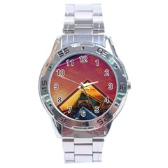The Rainbow Bridge Of A Thousand Fractal Colors Stainless Steel Analogue Watch by jayaprime