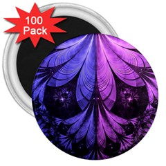 Beautiful Lilac Fractal Feathers Of The Starling 3  Magnets (100 Pack) by jayaprime