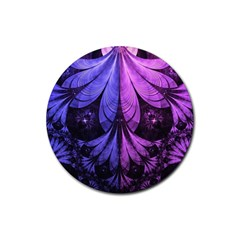 Beautiful Lilac Fractal Feathers Of The Starling Rubber Coaster (round)