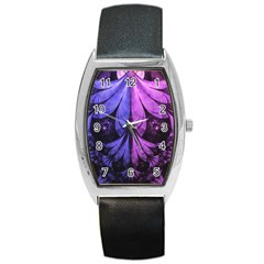 Beautiful Lilac Fractal Feathers Of The Starling Barrel Style Metal Watch by jayaprime