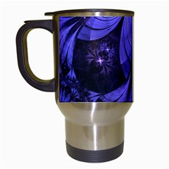 Beautiful Lilac Fractal Feathers Of The Starling Travel Mugs (white) by jayaprime