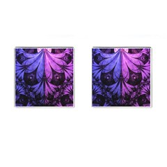 Beautiful Lilac Fractal Feathers Of The Starling Cufflinks (square) by jayaprime