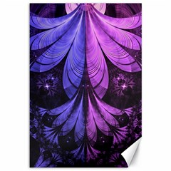 Beautiful Lilac Fractal Feathers Of The Starling Canvas 12  X 18   by jayaprime