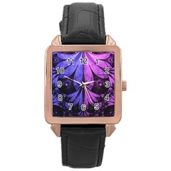 Beautiful Lilac Fractal Feathers Of The Starling Rose Gold Leather Watch  by jayaprime