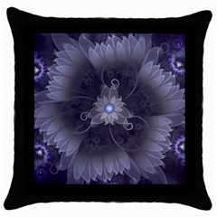 Amazing Fractal Triskelion Purple Passion Flower Throw Pillow Case (black) by jayaprime