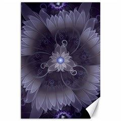 Amazing Fractal Triskelion Purple Passion Flower Canvas 12  X 18   by jayaprime