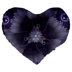 Amazing Fractal Triskelion Purple Passion Flower Large 19  Premium Flano Heart Shape Cushions by jayaprime