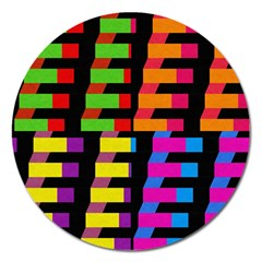 Colorful Rectangles And Squares                        Magnet 5  (round) by LalyLauraFLM