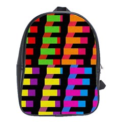 Colorful Rectangles And Squares                        School Bag (large) by LalyLauraFLM