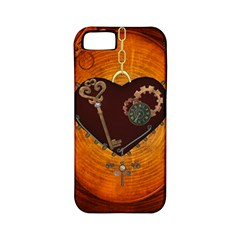 Steampunk, Heart With Gears, Dragonfly And Clocks Apple Iphone 5 Classic Hardshell Case (pc+silicone) by FantasyWorld7
