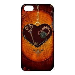 Steampunk, Heart With Gears, Dragonfly And Clocks Apple Iphone 5c Hardshell Case by FantasyWorld7