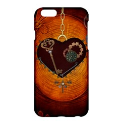 Steampunk, Heart With Gears, Dragonfly And Clocks Apple Iphone 6 Plus/6s Plus Hardshell Case by FantasyWorld7
