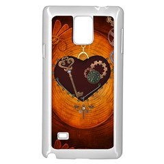 Steampunk, Heart With Gears, Dragonfly And Clocks Samsung Galaxy Note 4 Case (white) by FantasyWorld7