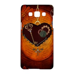 Steampunk, Heart With Gears, Dragonfly And Clocks Samsung Galaxy A5 Hardshell Case  by FantasyWorld7