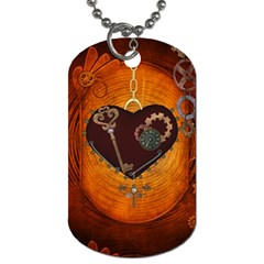Steampunk, Heart With Gears, Dragonfly And Clocks Dog Tag (one Side) by FantasyWorld7