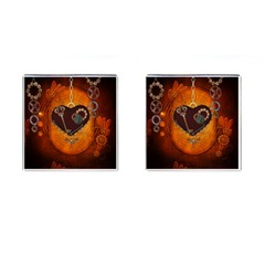 Steampunk, Heart With Gears, Dragonfly And Clocks Cufflinks (square) by FantasyWorld7