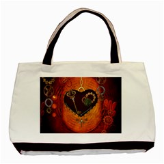 Steampunk, Heart With Gears, Dragonfly And Clocks Basic Tote Bag (two Sides) by FantasyWorld7