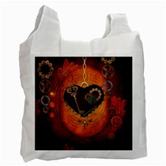 Steampunk, Heart With Gears, Dragonfly And Clocks Recycle Bag (one Side) by FantasyWorld7