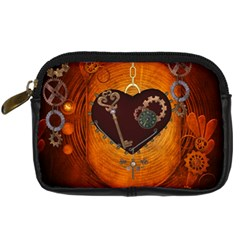 Steampunk, Heart With Gears, Dragonfly And Clocks Digital Camera Cases by FantasyWorld7