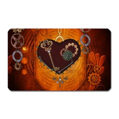 Steampunk, Heart With Gears, Dragonfly And Clocks Magnet (rectangular) by FantasyWorld7