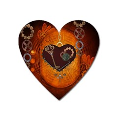 Steampunk, Heart With Gears, Dragonfly And Clocks Heart Magnet by FantasyWorld7