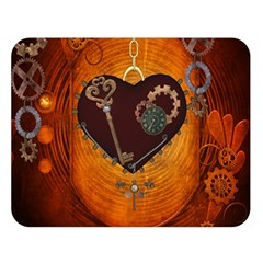 Steampunk, Heart With Gears, Dragonfly And Clocks Double Sided Flano Blanket (large)  by FantasyWorld7