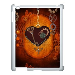 Steampunk, Heart With Gears, Dragonfly And Clocks Apple Ipad 3/4 Case (white) by FantasyWorld7