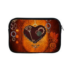 Steampunk, Heart With Gears, Dragonfly And Clocks Apple Ipad Mini Zipper Cases by FantasyWorld7