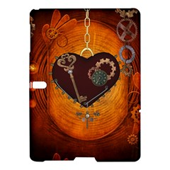 Steampunk, Heart With Gears, Dragonfly And Clocks Samsung Galaxy Tab S (10 5 ) Hardshell Case  by FantasyWorld7