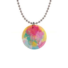 Pastel Watercolors Canvas                        1  Button Necklace by LalyLauraFLM
