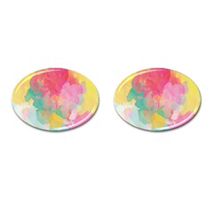 Pastel Watercolors Canvas                        Cufflinks (oval) by LalyLauraFLM