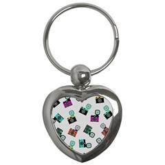 Old Cameras Pattern                        Key Chain (heart) by LalyLauraFLM