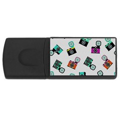 Old Cameras Pattern                        Usb Flash Drive Rectangular (4 Gb) by LalyLauraFLM