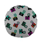Old cameras pattern                  Standard 15  Premium Flano Round Cushion Back