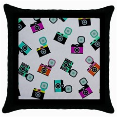 Old Cameras Pattern                        Throw Pillow Case (black) by LalyLauraFLM