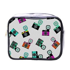 Old Cameras Pattern                        Mini Toiletries Bag (one Side) by LalyLauraFLM