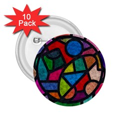 Stained Glass Color Texture Sacra 2 25  Buttons (10 Pack)