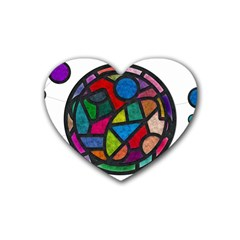 Stained Glass Color Texture Sacra Rubber Coaster (heart)  by BangZart