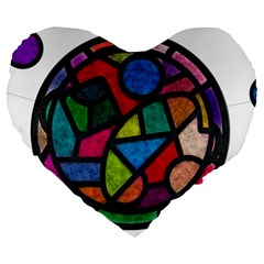 Stained Glass Color Texture Sacra Large 19  Premium Heart Shape Cushions by BangZart