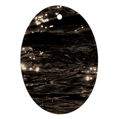 Lake Water Wave Mirroring Texture Oval Ornament (two Sides) by BangZart